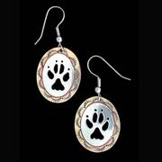 Wolf Paw Earrings Silver and Brass