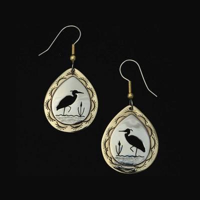 Cutout Heron Earrings