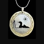 Loon with Chick Pendant Necklace Silver and Brass