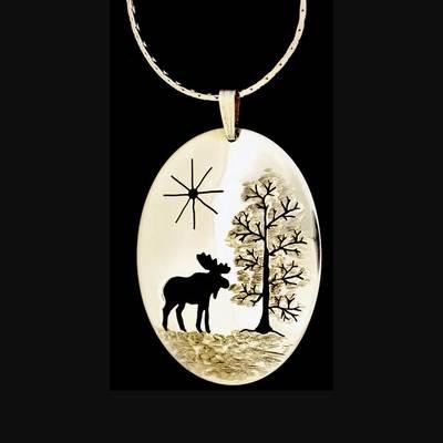 Moose Pendant Necklace Silver