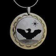 Dancing Loon Pendant Necklace Silver and Brass