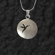 Floral Hummingbird Necklace Pendant