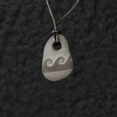 Wave Lake Stone Pendant Necklace On Cord