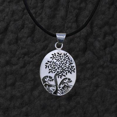 Oval Tree Pendant Necklace