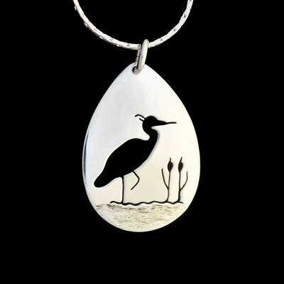 Heron In The Reeds Pendant