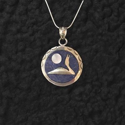 Lapis Loon Moon Pendant