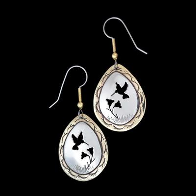 Hummingbird Sterling Silver And Brass Earrings