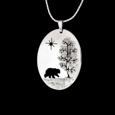 Tree/Bear Oval Sterling Silver Pendant