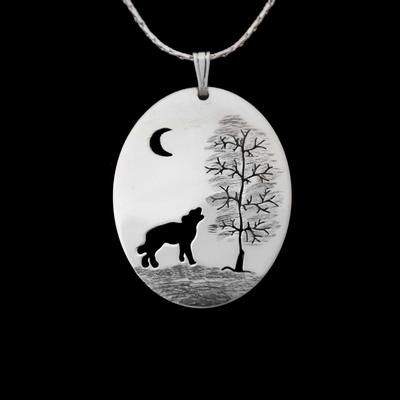 Wolf Tree Oval Sterling Silver Pendant
