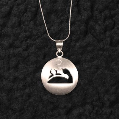 Loon With Chicks Shadow Pendant