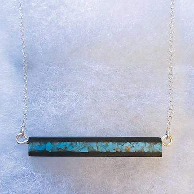 Wood And Turquoise Bar Necklace