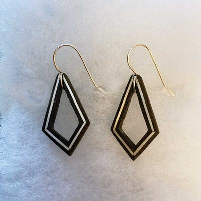 Black Ebony Statement Frame With Sterling Silver Inlay Earrings