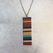 Recycled Wood and Turquoise Bar Necklace