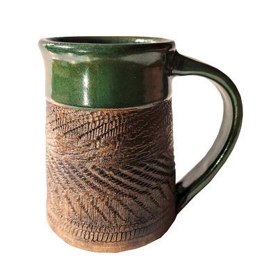 Dark Green Carved Mug