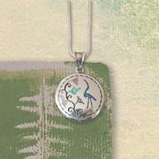 Crane Floral Pendant
