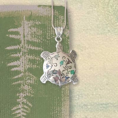 Floral Turtle Pendant