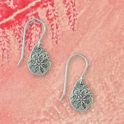 Snowflake Border Teardrop Earrings
