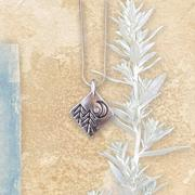 Cubic Zirconia North Star, Moon, And Pines Pendant