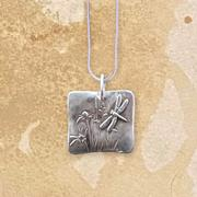 Dragonfly And Wildflowers Square Pendant